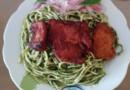 Receta veg: Tallarines verdes con carne de soya